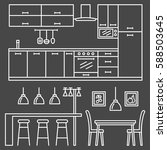 kitchen modern furniture icons. ... | Shutterstock .eps vector #588503645