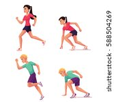 set of runners  male and female ... | Shutterstock .eps vector #588504269