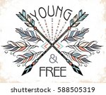 poster with hand drawn tribal... | Shutterstock .eps vector #588505319