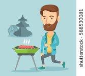 caucasian man cooking steak on... | Shutterstock .eps vector #588530081