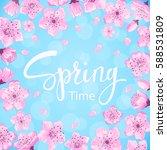 cherry blossoms spring flowers... | Shutterstock .eps vector #588531809