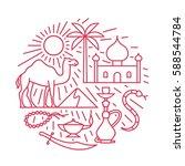 arabian desert  vector outline... | Shutterstock .eps vector #588544784