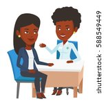 young african doctor consulting ... | Shutterstock .eps vector #588549449