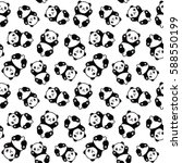 Seamless Cute Cartoon Panda...