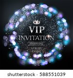 vip invitation card with silver ... | Shutterstock .eps vector #588551039