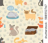 cute cats character different... | Shutterstock .eps vector #588552767