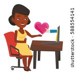 woman using laptop and dating...   Shutterstock .eps vector #588554141