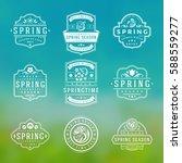 spring typographic badges... | Shutterstock .eps vector #588559277