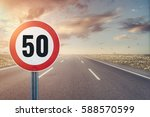road sign speed limit on the... | Shutterstock . vector #588570599