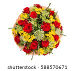 bouquet of flowers top view on... | Shutterstock . vector #588570671