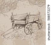 pencil drawing old cart on a... | Shutterstock .eps vector #588572279