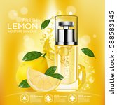 lemon fruit serum moisture skin ... | Shutterstock .eps vector #588583145