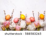Colorful Tulips With Branches...