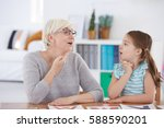 stuttering girl and speech... | Shutterstock . vector #588590201