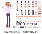 Male clerk character creation set. Full length, different views, isolated against white background. Build your own design. Cartoon flat-style infographic illustration | Shutterstock vector #588590711