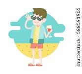 young man enjoying relaxing and ...   Shutterstock .eps vector #588591905