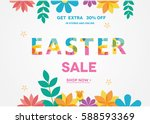 easter sale banner  sale poster ... | Shutterstock .eps vector #588593369