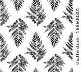 seamless pattern with fern... | Shutterstock .eps vector #588600305