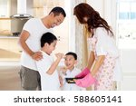 asian kids eating home baked...   Shutterstock . vector #588605141