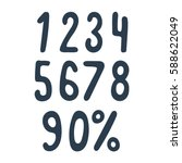 hand drawn numbers set.... | Shutterstock .eps vector #588622049