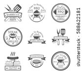 set of barbecue in monochrome... | Shutterstock .eps vector #588622181