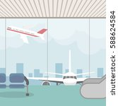 background of hall at airport.... | Shutterstock .eps vector #588624584