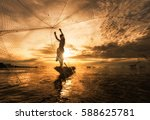 silhouette fisherman fishing... | Shutterstock . vector #588625781