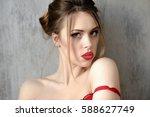 female portrait of cute lady in ... | Shutterstock . vector #588627749