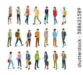 teenagers students vector... | Shutterstock .eps vector #588631589