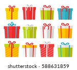 colourful christmas boxes set... | Shutterstock .eps vector #588631859