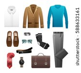men's outfits set for everyday... | Shutterstock .eps vector #588633161