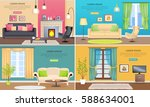 apartment interiors web banners ... | Shutterstock .eps vector #588634001