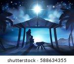 christian christmas nativity... | Shutterstock .eps vector #588634355