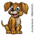 a cute cartoon dog mascot... | Shutterstock .eps vector #588634421