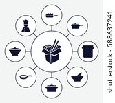 set of 9 soup filled icons such ... | Shutterstock .eps vector #588637241