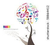 abstract colorful music tree  ... | Shutterstock .eps vector #58864412