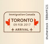 toronto passport stamp. travel... | Shutterstock .eps vector #588649121