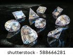 all shapes and cuts of diamonds ... | Shutterstock . vector #588666281