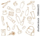 set of various cosmetic items...   Shutterstock .eps vector #58866635