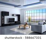 interior in minimalist style...   Shutterstock . vector #588667331