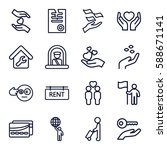 holding icons set. set of 16... | Shutterstock .eps vector #588671141