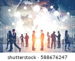 silhouettes of business people... | Shutterstock . vector #588676247