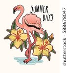 summer days flamingo and... | Shutterstock .eps vector #588678047