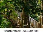 wooden bridge into the rain... | Shutterstock . vector #588685781