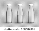 transparent glass bottle with... | Shutterstock .eps vector #588687305