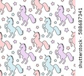 cute colorful unicorns with... | Shutterstock .eps vector #588687341
