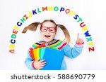 happy preschool child learning... | Shutterstock . vector #588690779