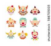 clown faces vector isolated... | Shutterstock .eps vector #588705035