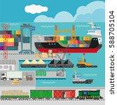 logistics in port infographics...   Shutterstock .eps vector #588705104