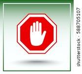 no entry hand sign icon  vector ... | Shutterstock .eps vector #588705107